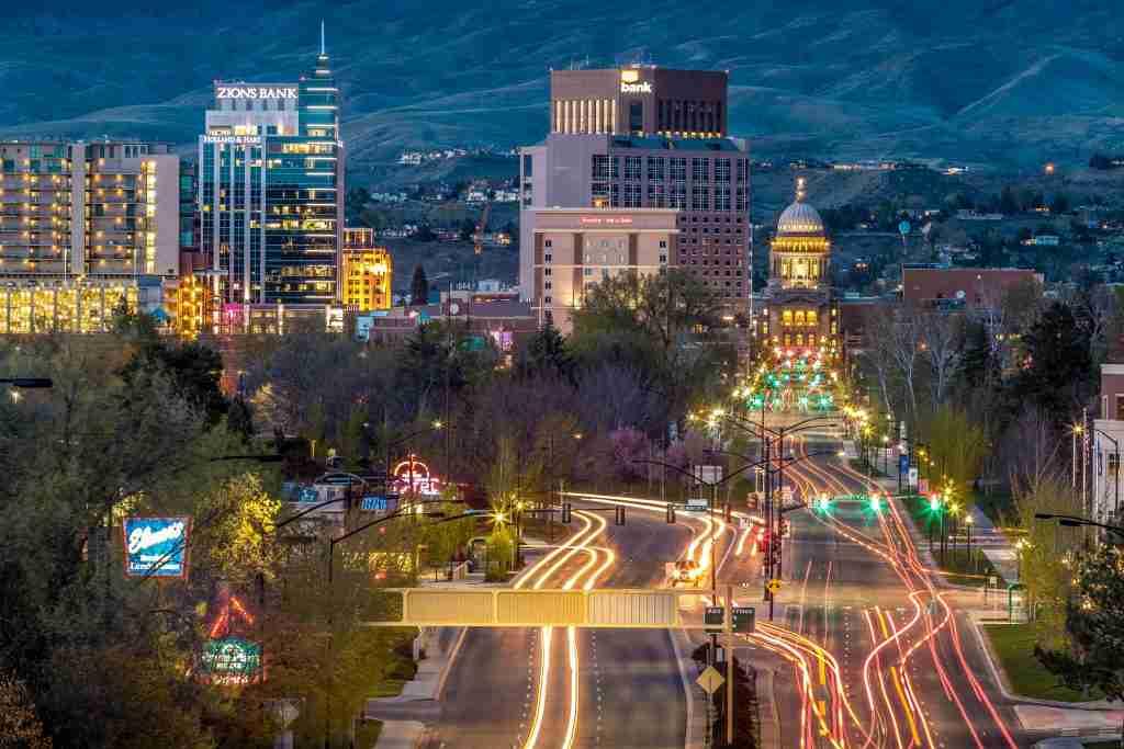 Boise skyline at night