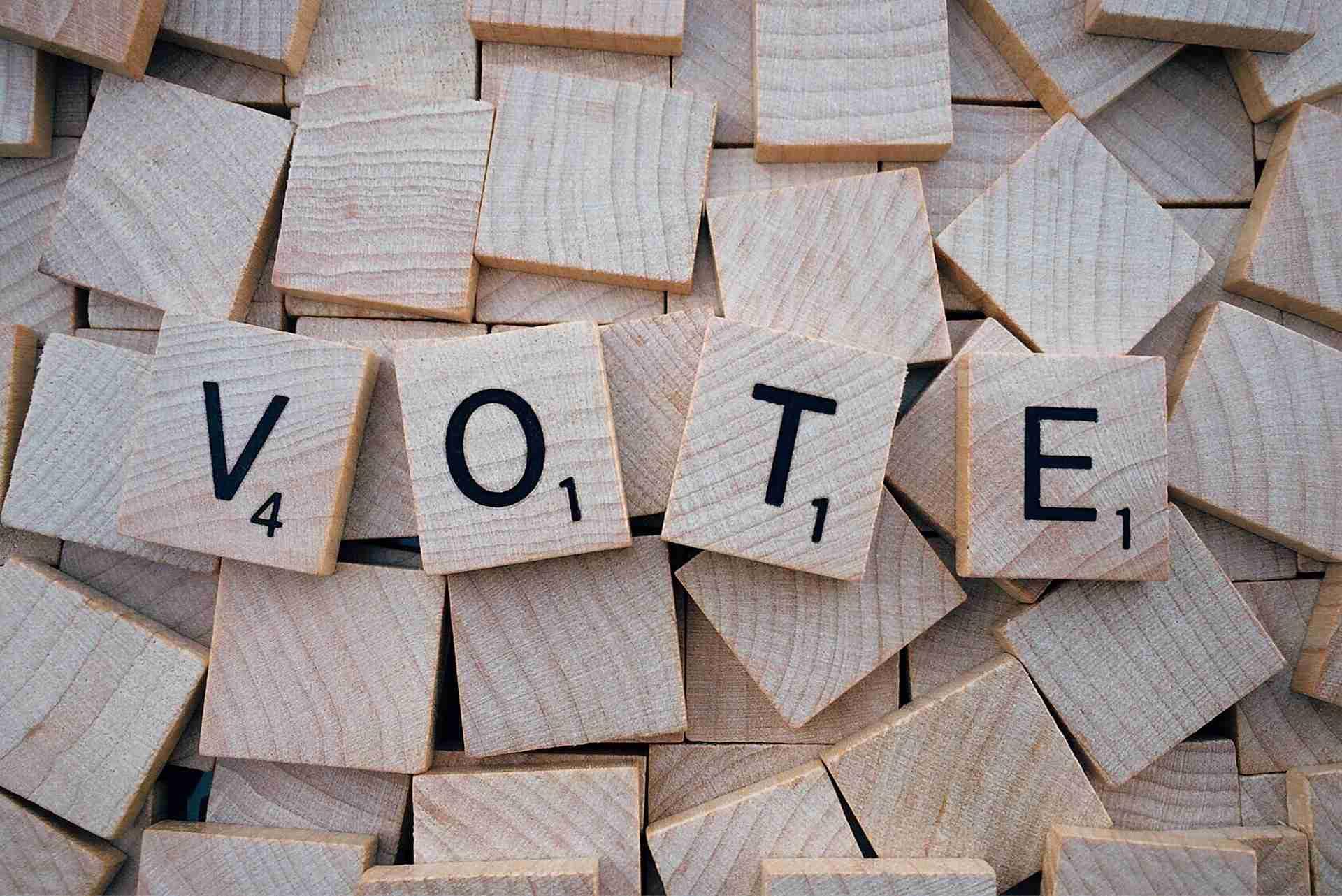 """Scrabble blocks that spell """"Vote"""""""