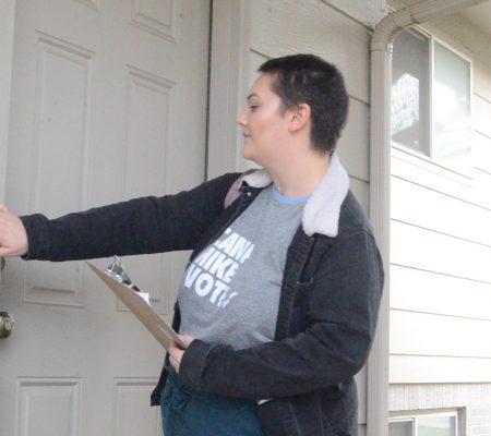CVI staff person ringing doorbell